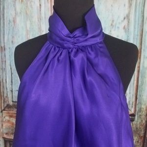 Sleeveless Choker Collar Purple Top Blouse XL